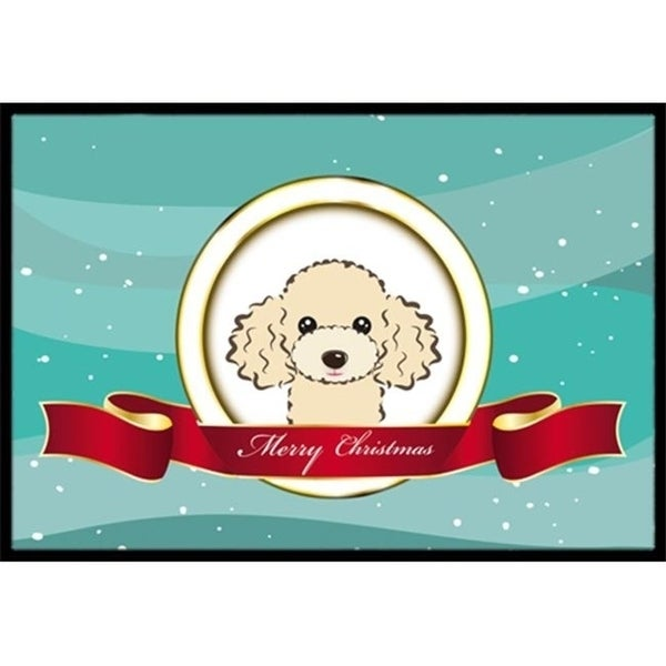 Carolines Treasures BB1568MAT Buff Poodle Merry Christmas Indoor & Outdoor Mat 18 x 27 in.