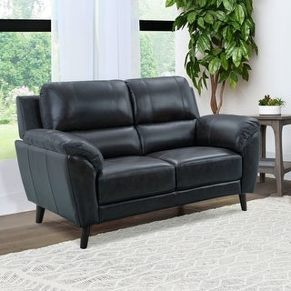 Link to Strick & Bolton Granville Top-grain Leather Loveseat Similar Items in Living Room Furniture