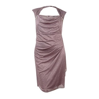 R&M Richards Women's Plus Size Ruched Glitter Chiffon Dress - Mocha