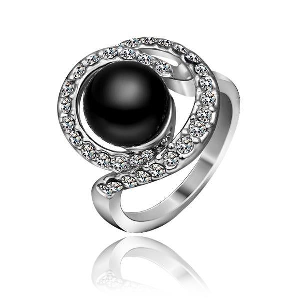 White Gold Plated Swirl Onyx Gem Ring
