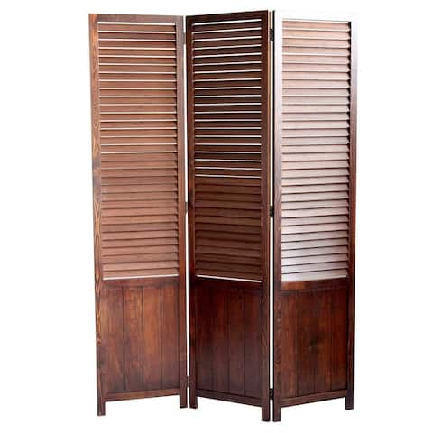 Traditional Foldable Wooden Shutter Screen with 3 Panels, Brown - 67 H x 2 W x 47 L Inches