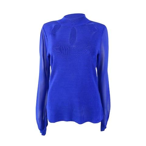 INC International Concepts Women's Cutout Sheer-Sleeve Sweater