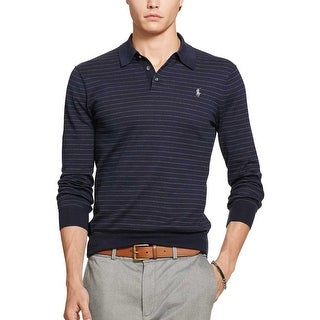 Polo Ralph Lauren Pima Cotton Striped Polo Sweater Navy Blue Small S