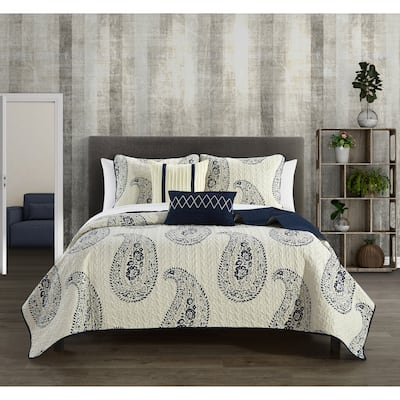 Chic Home Shriya 9 Piece Two-Tone Paisley Print Bed In A Bag Quilt Set