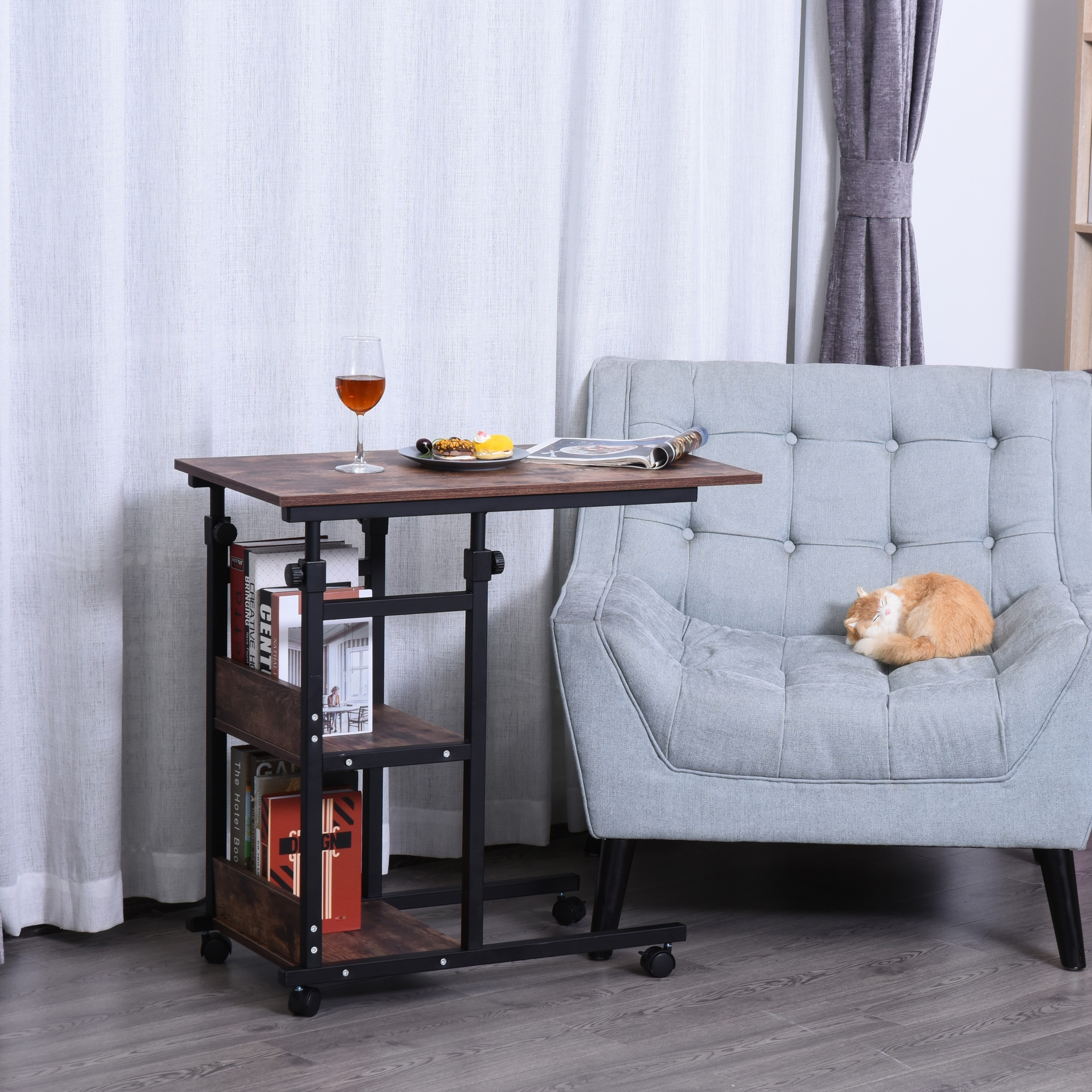 Picture of: Homcom Industrial C Shaped Mobile Rolling Sofa Side Table With 3 Tier Storage Shelving Adjustable Height Wheels Overstock 31660808