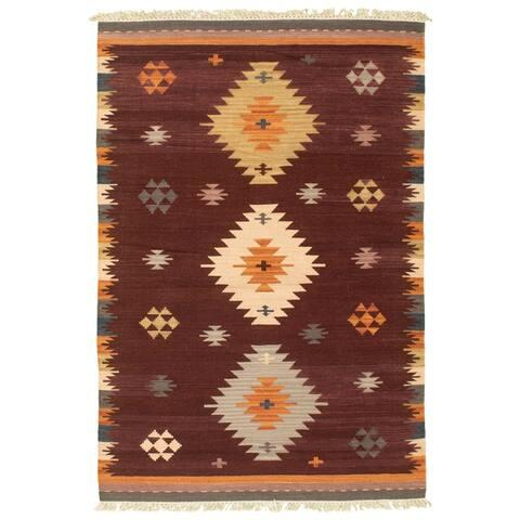 ECARPETGALLERY Flat-weave Anatolian FW Brown Wool Kilim - 4'0 x 5'10