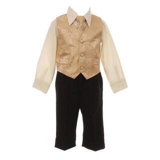 Little Boys Gold Paisley Pattern Neck Tie Vest Shirt Pant 4 Pc Suit