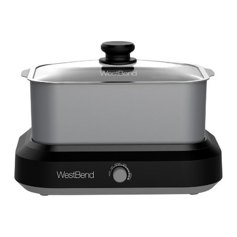 West Bend 87905 Oblong Slow Cooker with Tote, Silver, 5 Quart