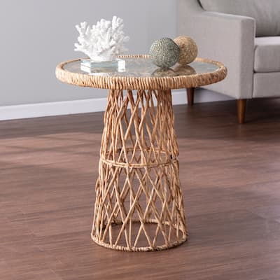 SEI Furniture Nyland Coastal Natural Woven Fiber Accent Table