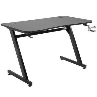 """Link to HOMCOM 47.25"""" Gaming Desk Computer Table Metal Frame with Cup Holder Headphone Hook, Cable Hole Similar Items in Desks & Computer Tables"""