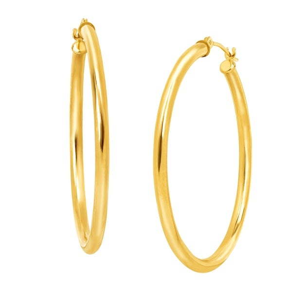 Just Gold 37 mm Polished Tube Hoop Earrings in 10K Gold