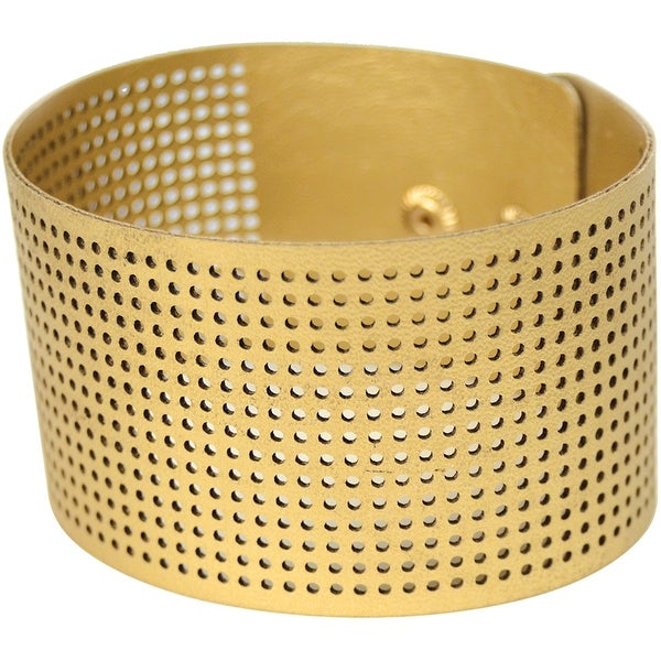 """Cross Stitch Style Faux Leather Bracelet Punched-8""""X1.5"""" Gold"""