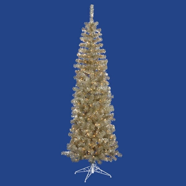7.5' Pre-Lit Champagne Artificial Tinsel Pencil Christmas Tree - Clear Lights