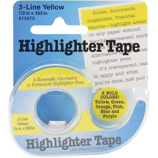 "Highlighter Tape .5""X393""-Yellow - YELLOW"