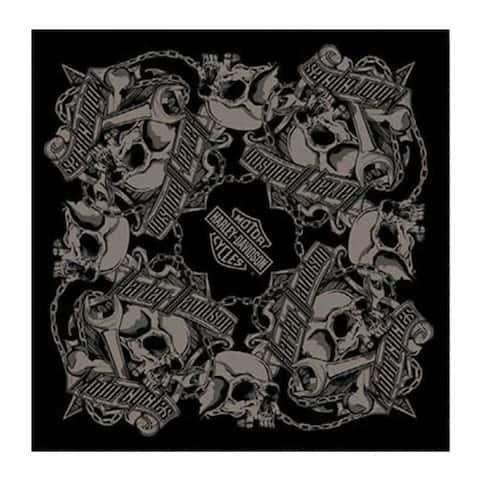 "Harley-Davidson Men's Grim Skulls Bandana - Black & Gray, 24 x 24 in BA34180 - 24"" x 24"""