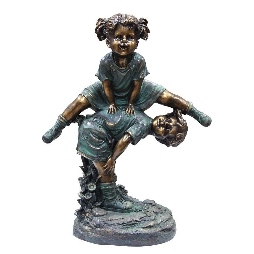 Alpine Girl Jumping Over Boy Garden Statue - Thumbnail 0