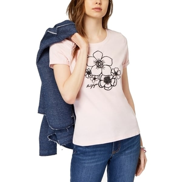 791805e888a Shop Tommy Hilfiger Women s Small Floral Embroidered Tee Top - On Sale -  Free Shipping On Orders Over  45 - Overstock - 27222462