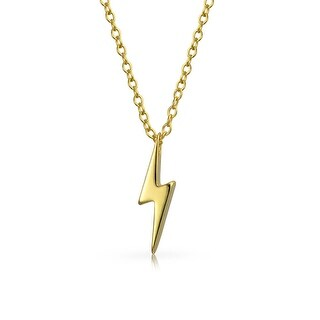 Bling Jewelry Gold Plated .925 Silver Lightning Bolt Pendant Necklace 16 Inches
