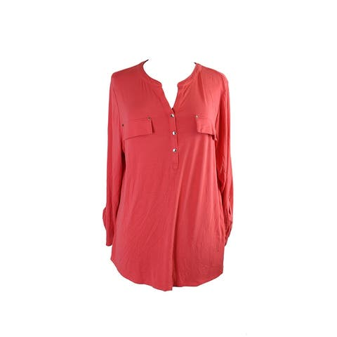 Charter Club Plus Size Coral Utility Henley Top 1X