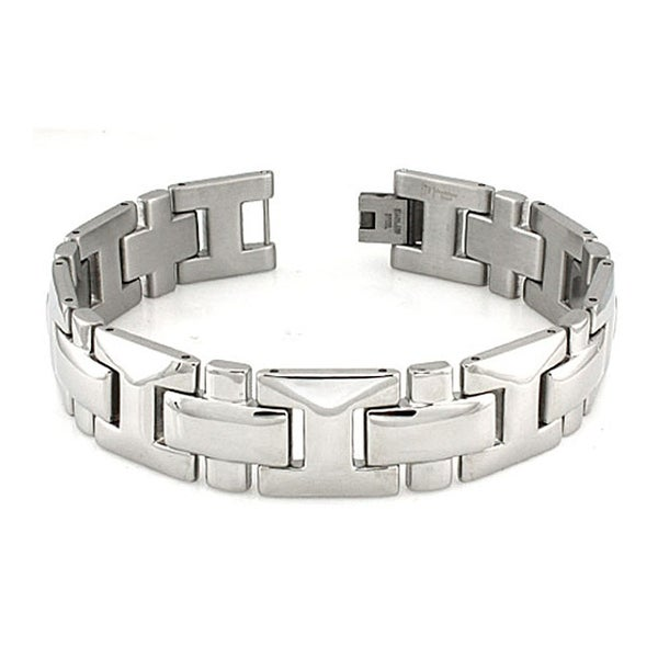 Men's Stainless Steel Bracelet with Cross Links (18mm Wide) - 8.5 Inches