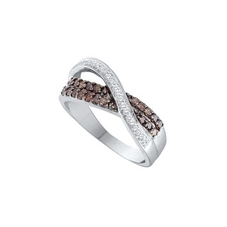 14k White Gold Cognac-brown Colored Diamond Womens Crossover Cocktail Fine Band Ring 1/2 Cttw - Brown