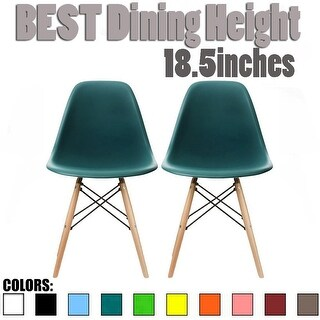 2xhome - Set of 2, Teal Plastic Eiffel chairs Solid Wood Legs Dining