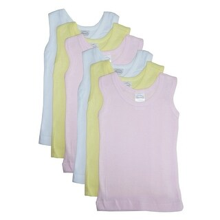 Bambini Baby Girls Pink Yellow White Cotton Sleeveless 6-Pack Tank Tops
