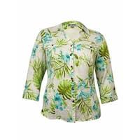 JM Collection Women's Pocket Printed Linen Buttoned Shirt - bahamian garden teal