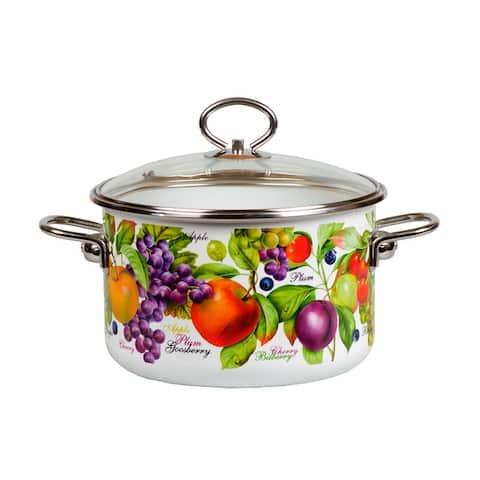 STP Goods Fruit Garden Enamel on Steel Stock Pot w/Glass Lid