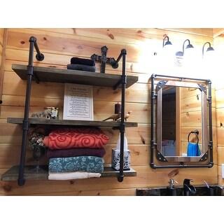 Danya B. Three Tier Faux Wood Industrial Pipe Wall Shelf