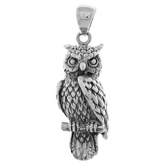 Link to Perching Owl Bird Sterling Silver Pendant Similar Items in Necklaces