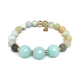 Green Amazonite 'Trinity' stretch bracelet 14k Over Sterling Silver