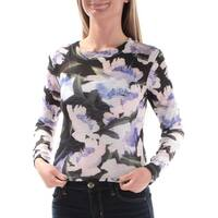 Womens Black Floral Long Sleeve Jewel Neck Casual Top  Size  2XS