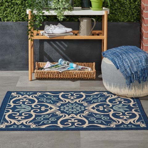 Nourison Caribbean Floral Geometric Indoor/Outdoor Area Rug