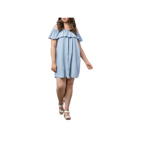 Bobeau Womens Plus Casual Dress Chambray Off-The-Shoulder