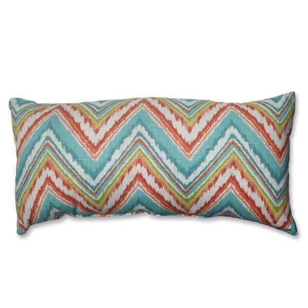 "23"" Tie Dye Chevron Teal Blue, Lime Green and Orange Rectangular Decorative Throw Pillow"