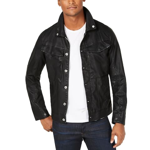 G-Star Raw Mens Jacket Black Size Large L Faux Leather Button Front