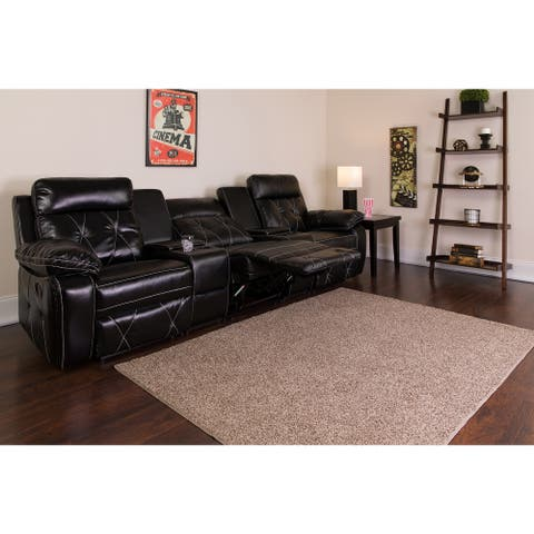"""3-Seat Reclining LeatherSoft Theater Seating Unit - 113""""W x 37"""" - 66""""D x 40""""H"""