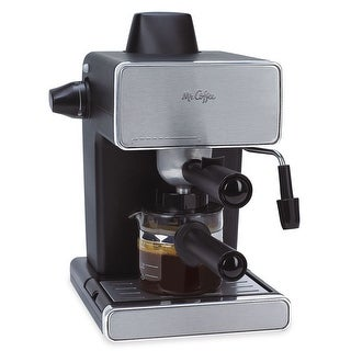 Mr. Coffee 4-Cup Steam Espresso and Cappuccino Maker Stainless Steel/Black