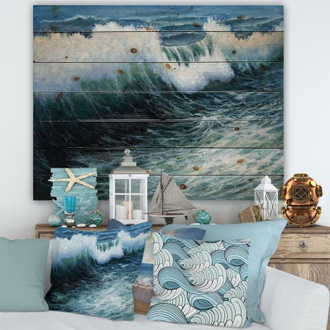Designart 'Storm Waves In The Ocean' Nautical & Coastal Print on Natural Pine Wood