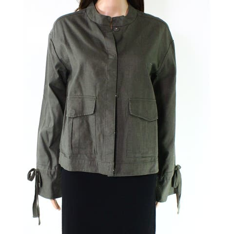 Caslon Olive Womens Small Snap Button Front Jacket