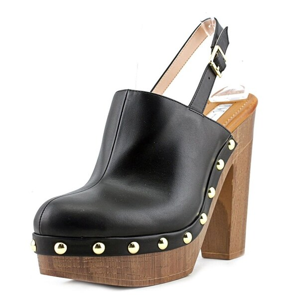 INC International Concepts Ashmee Women Open Toe Leather Black Platform Heel
