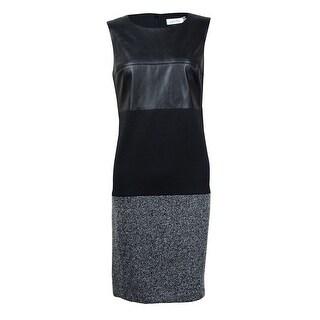 Calvin Klein Women's Faux Leather Top Knit Bottom Sheath Dress (12, Black Multi) - 12