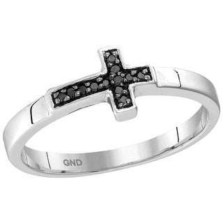 Sterling Silver Womens Round Black Colored Diamond Christian Cross Band Fashion Ring 1/20 Cttw