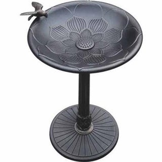 CPK Kingdom KCBB29282-BR Cast Stone Lotus Bird Bath with Bird - Bronze