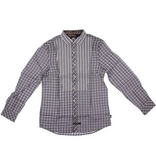 English Laundry Mens Textured Striped Button-Down Shirt - S