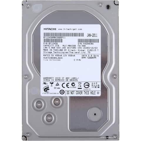 "Hitachi Ultrastar A7K2000 2TB 7.2K RPM 3.5"" SATA HDD (Refurbished) - Silver - 1 x 5.7 x 4 inches"