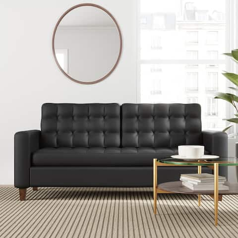 "Brookside Brynn 76"" Square Arm Sofa - Faux Leather, Velvet, and Fabric Options"