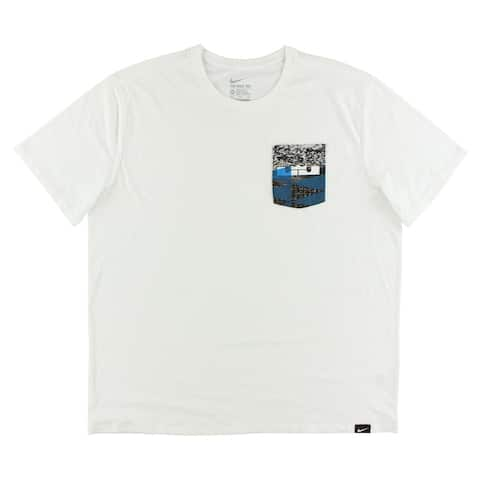 2b71391ab30e12 Nike Mens LeBron Rubber City Pocket T Shirt White - white photo blue black