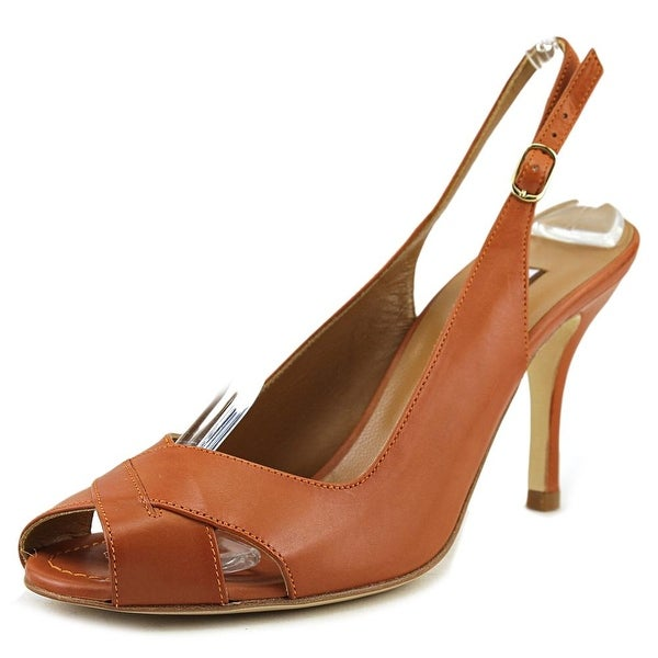Guglielmo Rotta 6550 Women Peep-Toe Leather Tan Slingback Heel